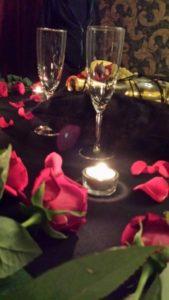 Champaign and Flower Arrangement in BDSM Apartment